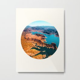 Mid Century Modern Round Circle Photo Burnt Sienna Landscape Meets Blue Turquoise Waters Metal Print