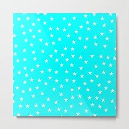 Aqua blue background with white stars seamless pattern Metal Print