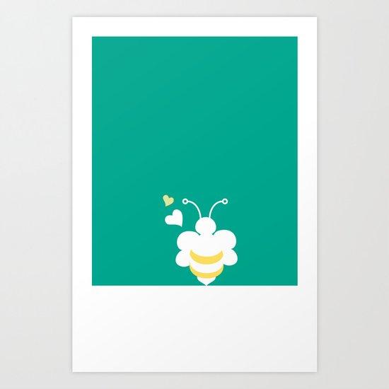 Honey Bee Green Yellow Heart Love Art Print