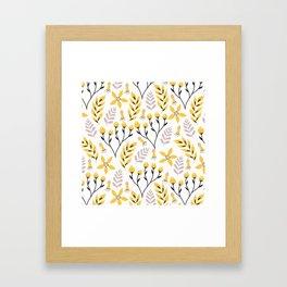 Mod Floral Yellow Gray Framed Art Print