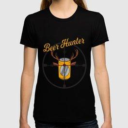 Beer can hunter crosshair drink alcohol deer antler humor joke gift T-shirt