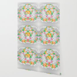 Wreaths from abstract flowers on floral background Wallpaper