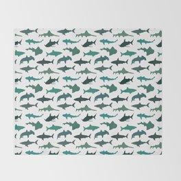 Green Sharks Throw Blanket