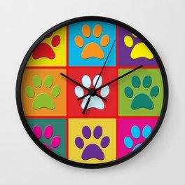Pop Paw Prints Wall Clock
