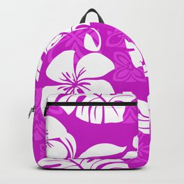 Fuchsia & White Hibiscus Aloha Hawaiian Flower Blooms and Tropical Banana Leaves Pattern Backpack