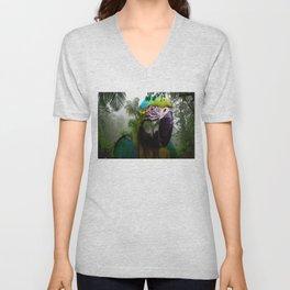 Parrot In Jungle By Annie Zeno  Unisex V-Neck