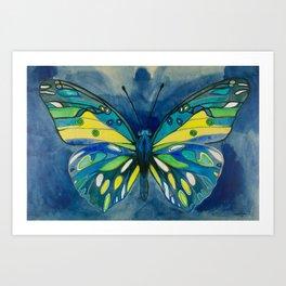 Indigo Butterfly Art Print