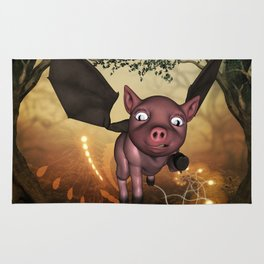 Funny little piglet with wings Rug