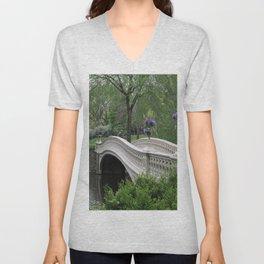 Bow Bridge Central Park New York Unisex V-Neck