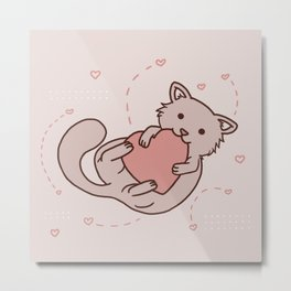 Kitty holds heart Metal Print
