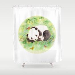 with mama panda Shower Curtain
