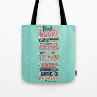 risa rodil Tote Bags featuring Read Books by Risa Rodil