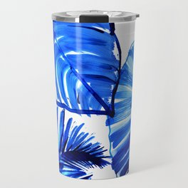 Bright Blue Jungle Leaves Travel Mug