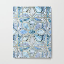 Geometric Gilded Stone Tiles in Soft Blues Metal Print