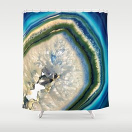 Blue Teal Agate Slice Crystal Stone Vibrant Said to assist you with adapting to change Shower Curtain