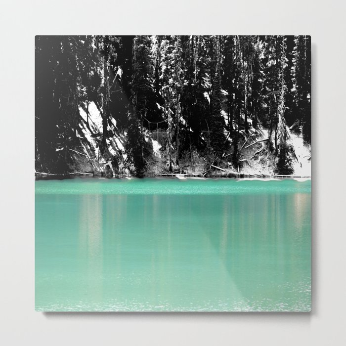 Green Water, Black and White Metal Print