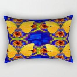 Luminous Golden Butterflies Patterned Blue Art Rectangular Pillow