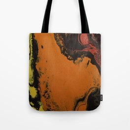 Fluid Art Acrylic Painting, Pour 5, Black, Red, Orange, & Yellow Blended Color Tote Bag