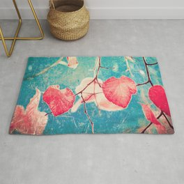Autumn Hea(u)rts - Textured photography, pinks leafs in blue sky  Rug