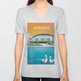 Adelaide, Australia - Skyline Illustration by Loose Petals Unisex V-Neck