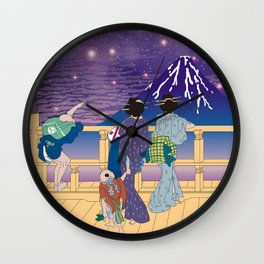 Hokusai People Seeing Mt. Fuji under the Stars Wall Clock