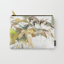 Sparrows and Fall Tree, three birds, brown green fall colors Carry-All Pouch