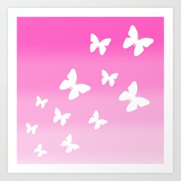 Pink Butterfly Ombre Fade Art Print