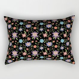 Multicolor flowers with cats Rectangular Pillow