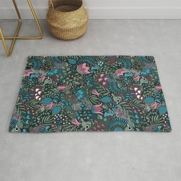 Tropical Birds and Flowers Pattern Rug