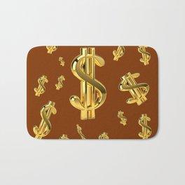FLOATING GOLDEN DOLLARS  IN COFFEE BROWN DESIGN Bath Mat