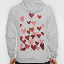 Valentine's Day Watercolor Hearts - red Hoody