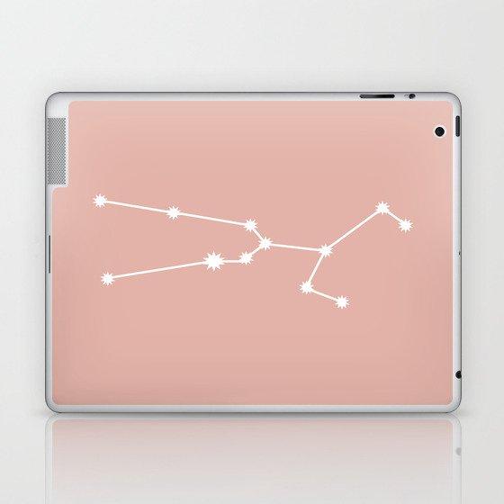 Taurus Zodiac Constellation - Pink Rose Laptop & iPad Skin