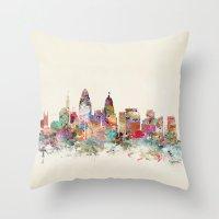 cincinnati Throw Pillows featuring cincinnati ohio skyline by bri.buckley