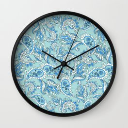 Blue Paisley Wall Clock