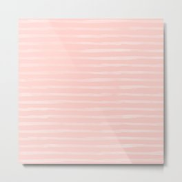Simple Rose Pink Stripes Design Metal Print