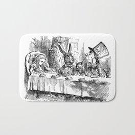 Vintage Alice in Wonderland Mad Hatter & rabbit tea party antique goth emo book gothic drawing print Bath Mat