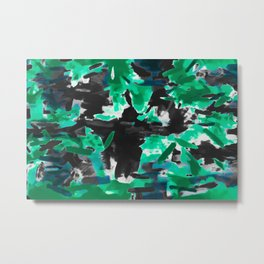 psychedelic vintage camouflage painting texture abstract in green and black Metal Print