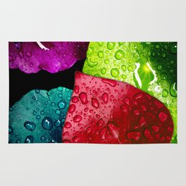 Colorful Leaves & Water Drops Abstract Rug