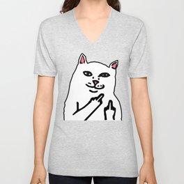grumpy f**k you cat Unisex V-Neck