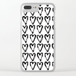 Black & White-Love Heart Pattern-Mix & Match with Simplicty of life Clear iPhone Case