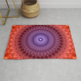Mandala in violet, red and orange colors Rug