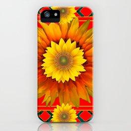 RED-GREY DECO YELLOW SUNFLOWERS MODERN ART iPhone Case