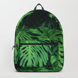 Monstera leaf jungle pattern - Philodendron plant leaves background Backpack