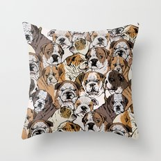 Social English Bulldog Throw Pillow
