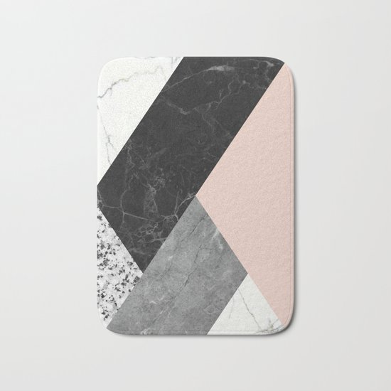 Black and white marbles and pantone pale dogwood color Bath Mat