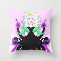 ursula Throw Pillows featuring Ursula by Sergio Saucedo
