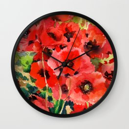Red Poppies red floral pattersn texture poppy flower design Wall Clock