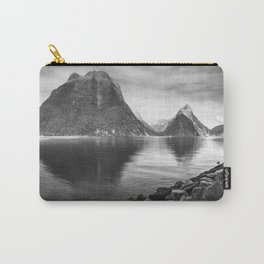 Milford Sound Panorama in black and white Carry-All Pouch