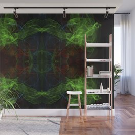 Abstract and symmetrical texture in the form of colorful smoke clouds. Wall Mural