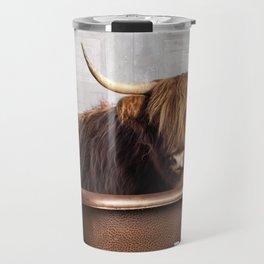 Highland Cow in the Tub Travel Mug